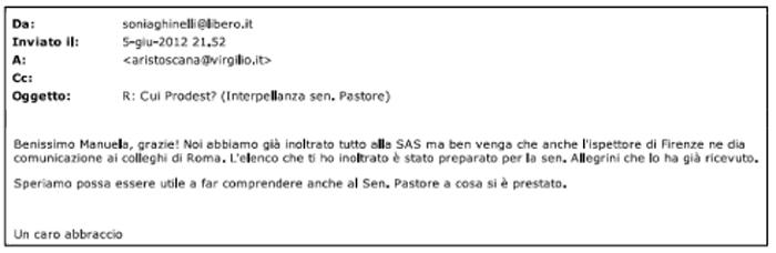 testo email ghinelli - aris toscana