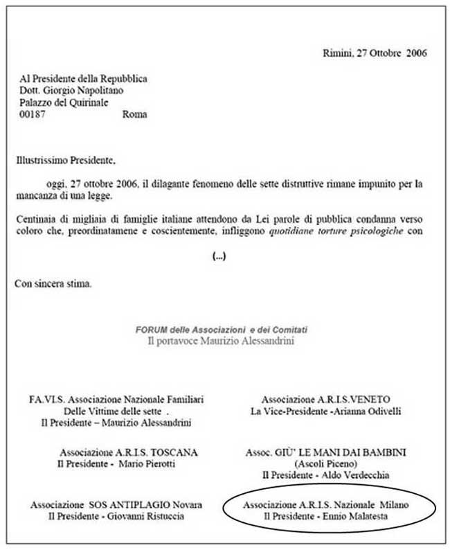 estratto lettera a Napolitano