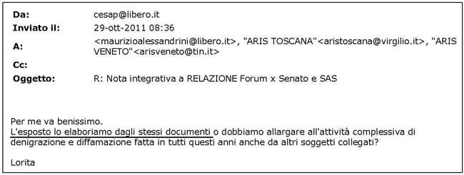 email esposto Tinelli
