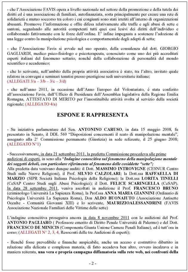 Alessandrini querela 2