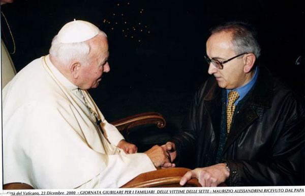 Maurizio Alessandrini con Papa Wojityla