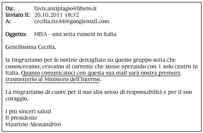 testo email Alessandrini-Tiz