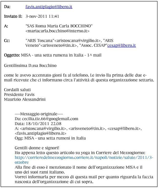 testo email Alessandrini-Bocchino