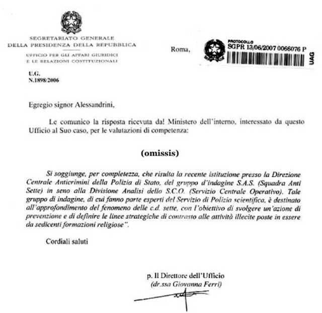 lettera dott.ssa Ferri